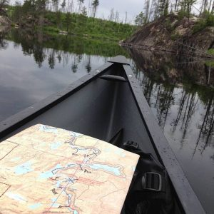 BWCA map on a wilderness lake