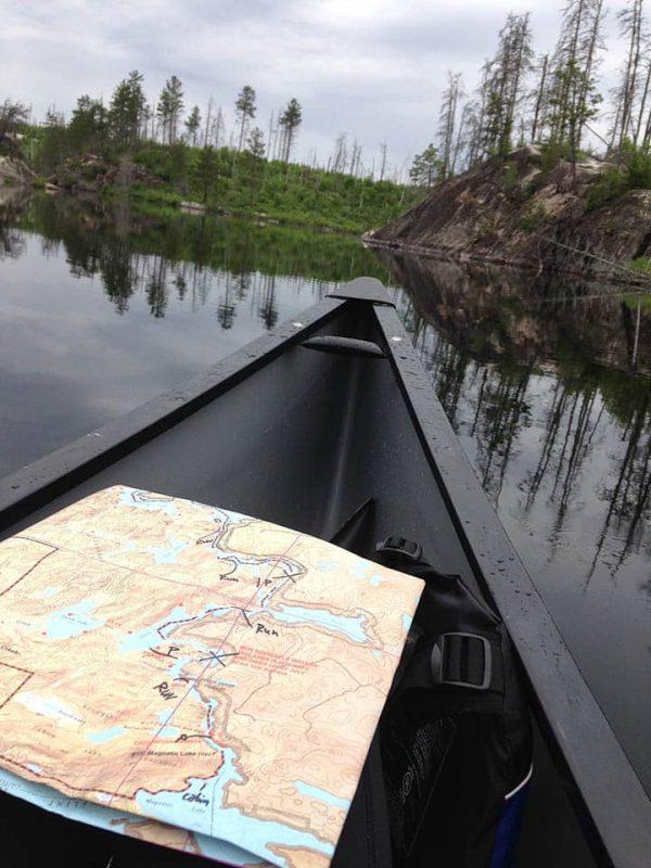 BWCA map on a wilderness lake