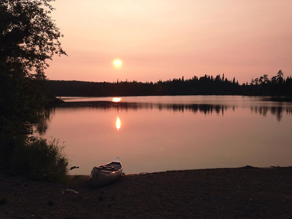 sunset at a BWCA campsite